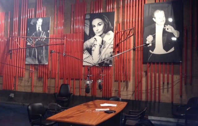Sound stage at LA 24x7 tango radio in Buenos Aires.