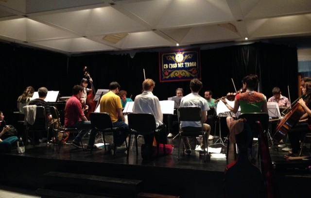 Orquesta Escuela De Tango Emilio Balcarce 2014 rehearsing at La Casa Del Tango